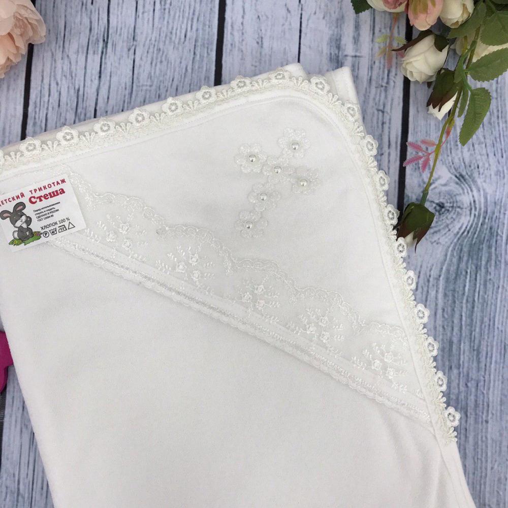 229. Крестильное полотенце, хлопок 100% Махра, молочный